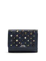 Christian Louboutin Macaron Tri Fold Embellished Leather Wallet Blue Multi