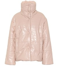 Nanushka Hide Faux Leather Puffer Jacket Pink