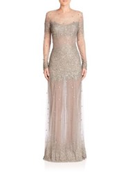 Monique Lhuillier Embroidered Long Sleeve Illusion Gown Antique Silver
