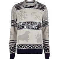 Bellfield River Island Mens Ecru Arctic Animal Print Jumper Beige