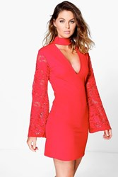 Boohoo High Neck Lace Sleeve Shift Dress Red