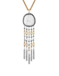 Lucky Brand Fringed Pebble Statement Pendant Necklace Mixed Metal