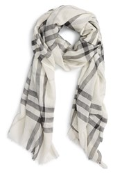 Burberry Women's Giant Check Print Wool And Silk Scarf White Natural White