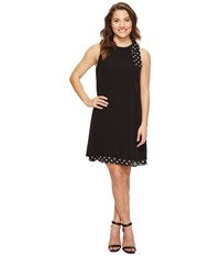 Tahari By Arthur S. Levine Petite Bow Shoulder Polka Dot Shift Dress Black White Women's Dress