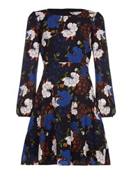 Yumi Wild Floral Print Long Sleeve Dress Multi Coloured Multi Coloured
