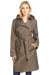 Petite Women's London Fog Long Double Breasted Trench Coat Fatigue