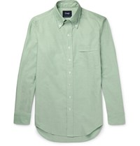 Drakes Drake's Slim Fit Slub Cotton Oxford Shirt Green
