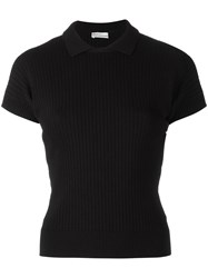Red Valentino Ribbed Knit Polo Top Blue