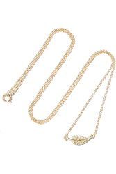 Jennifer Meyer Mini Leaf 18 Karat Gold Diamond Necklace