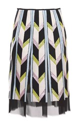 Emilio Pucci Sequin Embellished Chevron Paneled Skirt Black