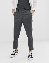 Selected Homme Tapered Cropped Trousers In Grey Check