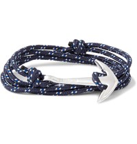 Miansai Cord And Silver Plated Anchor Wrap Bracelet Blue