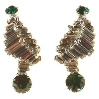 Alice Joseph Vintage 1950S Norman Hartnell Silver Toned Diamante Clip On Earrings White Green