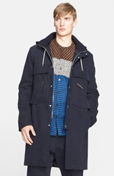 Umit Benan Hooded Parka With Faux Fur Lining Navy