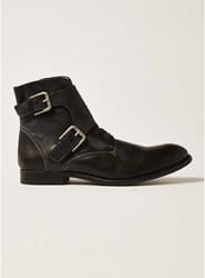 Topman Black Leather Moriarty Buckle Boots