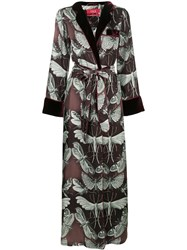 F.R.S For Restless Sleepers Moth Print Belted Coat Pink And Purple
