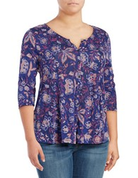 Lucky Brand Plus Button Front Floral Top Purple