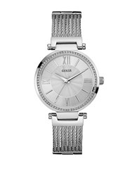 Guess Soho Silvertone And Crystal Stainless Steel Watch