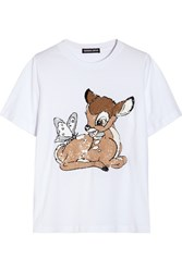 Markus Lupfer Bambi Sequin Embellished Cotton Jersey T Shirt White