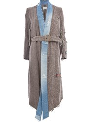 Greg Lauren Mixed Media Kimono Coat Brown