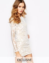 Goldie Masquarade All Over Embroidered Bodycon Dress Whitenude