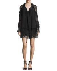 Roberto Cavalli Lace Inset Tiered Boho Dress Black Women's