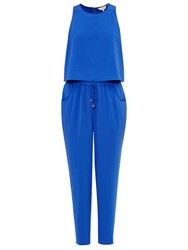 Ted Baker Heidey Textured Drape Jumpsuit Bright Blue
