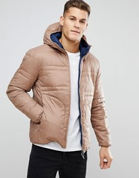 682e3b8121 United Colors Of Benetton Reversible Down Padded Jacket With Hood In Beige Dark  Grey Navy Brown