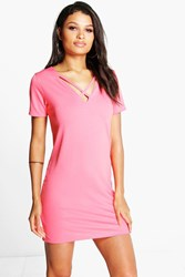 Boohoo Strappy V Front Shift Dress Coral