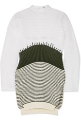 Loewe Cotton Organza And Striped Wool Dress White