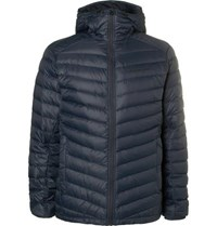 Peak Performance Frost Quilted Shell Hooded Down Jacket Navy