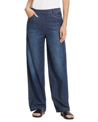Vince High Rise Side Zip Wide Leg Denim Jeans Mid Wash Mid With Tint