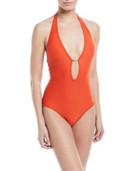 Jets By Jessika Allen Disposition Plunging Lace Up Sides Textured One Piece Swimsuit Orange