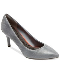 Rockport Women's Total Motion Pointed Toe Pumps Women's Shoes Icy Blue Diamond Snake