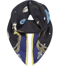 Aspinal Of London Feather Print Silk Scarf Black