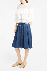 Sea Ny Women S Denim A Line Midi Skirt Boutique1 Blue
