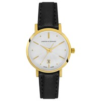 Larsson And Jennings Lgn26a Lblk Csg Q P Gw O Women's Aurora Date Leather Strap Watch Black White