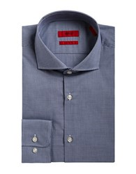 Hugo Cotton Pin Check Dress Shirt Navy
