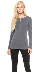 Stateside 1X1 Ribbed Henley Charcoal