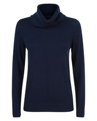Jaeger Cashmere Cowl Neck Sweater Navy