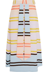 Suno Striped Matelasse Midi Skirt