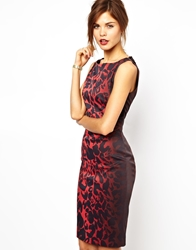 Karen Millen Signature Stretch Dress In Red Leopard Print