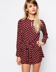 The Laden Showroom X Paisie Polka Dot Playsuit Burgundy