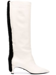 Grey Mer Applique Knee High Boots White