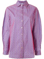 Alcoolique Striped Dot Print Shirt Red