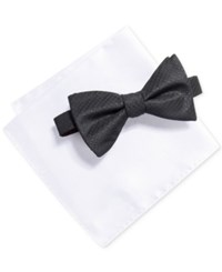 Alfani Men's Solid Bow Tie And Pocket Square Set Created For Macy's Black