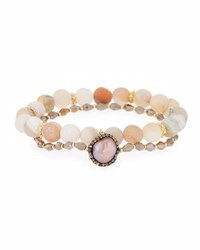 Panacea Druzy And Crystal Stretch Bracelets Gray