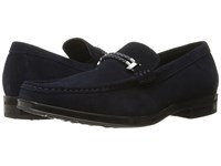 Stacy Adams Nesbit Moc Toe Braided Strap Slip On Navy Suede Men's Slip On Shoes Blue