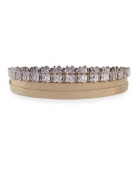 Fallon Leather Wrap Choker W Baguette Crystals Nude