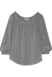 Chelsea Flower Off The Shoulder Silk Top Gray